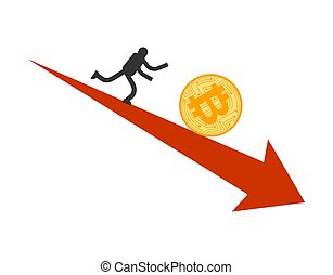 Bitcoin price fall. Businessman running for coin btc....