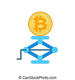 Bitcoin price rising. BTC jack up. Business concept in...