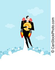 Bitcoin price rising. Businessman jet pack keep btc coin....
