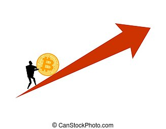 Bitcoin price rising. Businessman pushes coin btc....