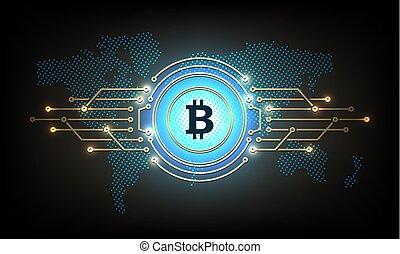bitcoin., résumé, silhouette, composition, signe
