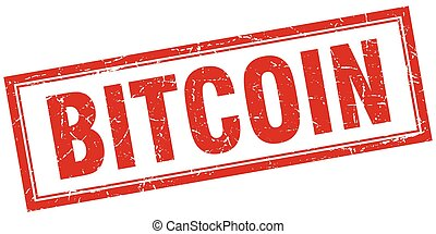 bitcoin red square grunge stamp on white