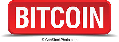bitcoin red three-dimensional square button isolated on white background