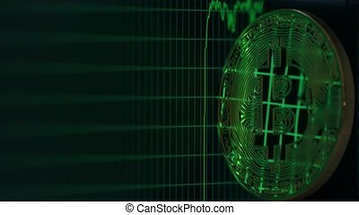 Bitcoin reflects rising and falling graph on the computer...