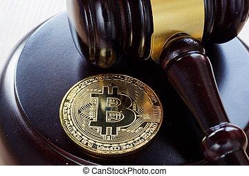 bitcoin, regulation., desk., btc, marteau, monnaie, crypto
