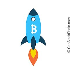 Bitcoin Rocket Ship Launching Into Space, Cryptocurrency,...