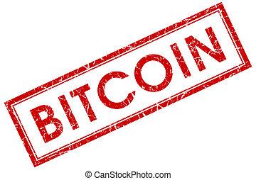 bitcoin, rode plein, postzegel, vrijstaand, op wit, achtergrond