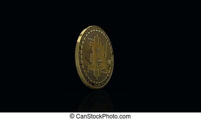 Bitcoin rotating against black with floor reflection, loop