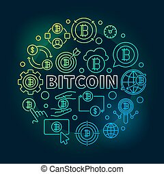 Bitcoin round colorful illustration. Vector round bitcoin sign