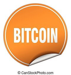 bitcoin round orange sticker isolated on white