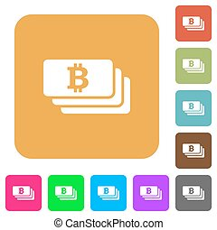 Bitcoin rounded square flat icons