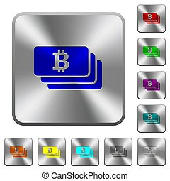 Bitcoin rounded square steel buttons