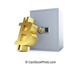 bitcoin safe on a white background 3D illustration, 3D rendering