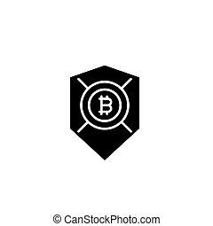 Bitcoin security black icon concept. Bitcoin security flat  vector symbol, sign, illustration.