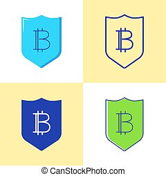 Bitcoin security icon set in flat and line style