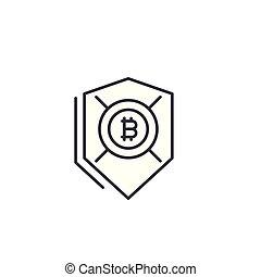 Bitcoin security linear icon concept. Bitcoin security line vector sign, symbol, illustration.
