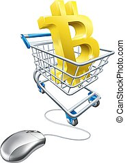 Bitcoin Shopping Cart Computer Mouse Concept