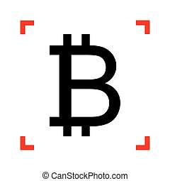 Bitcoin sign. Black icon in focus corners on white background. I