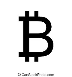 Bitcoin sign. Flat style black icon on white.