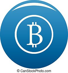 Bitcoin sign icon blue vector