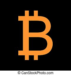 Bitcoin sign. Orange icon on black background. Old phosphor monitor. CRT.