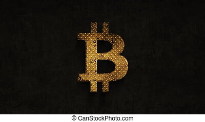 bitcoin sign rusting over time on a grunge background, 4k...