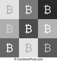 Bitcoin sign. Vector. Grayscale version of Popart-style icon.