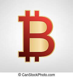 Bitcoin sign. Vector. Red icon on gold sticker at light gray background.