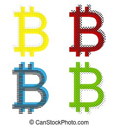 Bitcoin sign. Vector. Yellow, red, blue, green icons with their