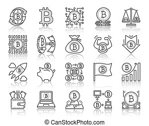 Bitcoin simple black line icons vector set