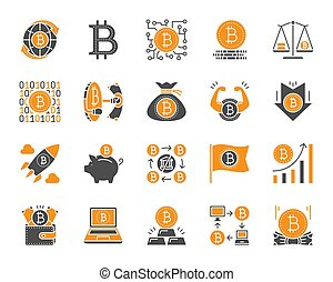 Bitcoin simple color flat icons vector set