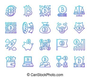 Bitcoin simple color line icons vector set