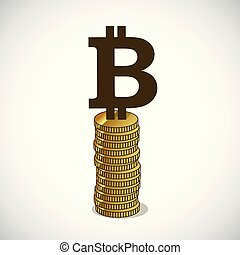bitcoin stands on gold coins concept of cryptocurrency