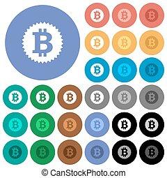 Bitcoin sticker round flat multi colored icons