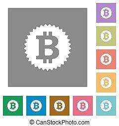 Bitcoin sticker square flat icons