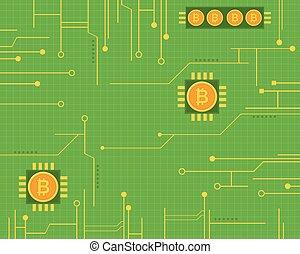 Bitcoin style on green background vector illustration