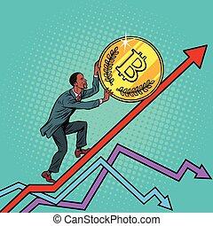 bitcoin, su, americano, africano, rotolo moneta, uomo
