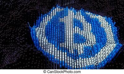 Bitcoin symbol animation formed from data blocks.