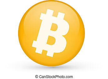 Bitcoin symbol - Bitcoin currency symbol yellow icon glossy...