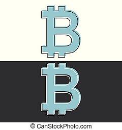 Bitcoin symbol icon, black and white design. Flat style vector illustration