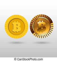 Bitcoin symbol in flat and 3d design vector eps 10