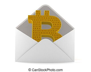 Bitcoin symbol inside envelope