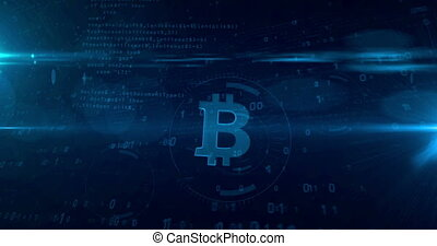 Bitcoin symbol on cyber background