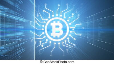 Animation of financial data processing and glowing bitcoin symbol on blue background. Cryptocurrency virtual global finance business concept digitally generated image.