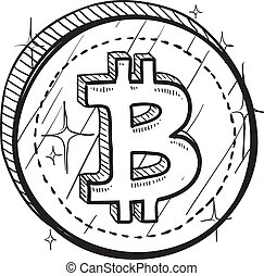 Bitcoin symbol sketch - Doodle style coin with currency...