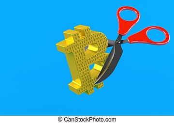 Bitcoin symbol with scissors