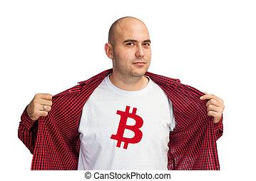 bitcoin, symbool, op, hemd