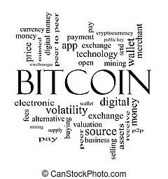 bitcoin, szó, felhő, fogalom, alatt, fekete-fehér