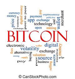 bitcoin, szó, felhő, fogalom