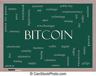 bitcoin, szó, felhő, fogalom, képben látható, egy, tábla